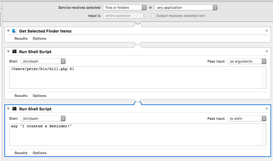 Screen shot of Automator workflow to process bills