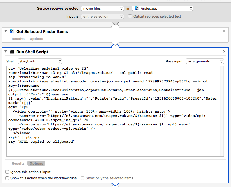 Screen shot of Automator source for this script