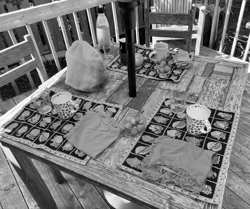 Table on our back deck set for a guest.