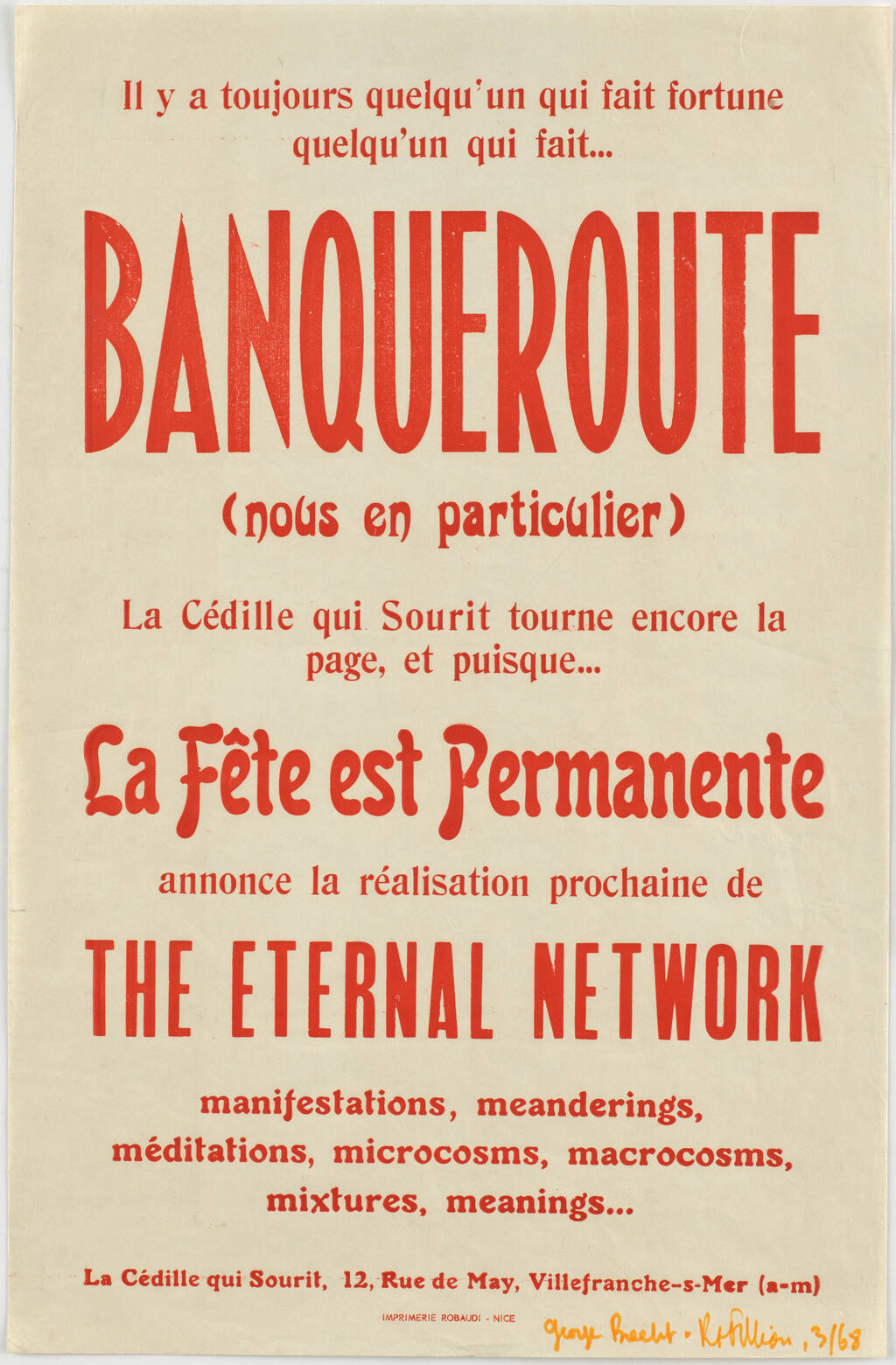 La Cédille Qui Sourit Poster, 1968, MOMA Collection