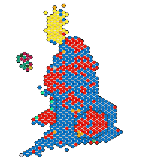 UK election results from the BBC presented as a cartogram