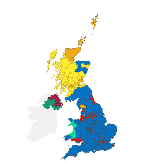 Screen shot from BBC news showing geographic representation of results