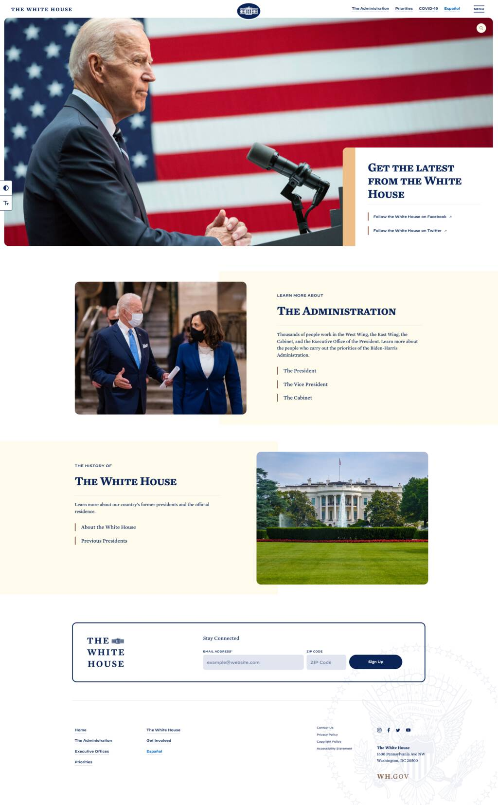 Screen shot of Whitehouse.gov on the afternoon of January 20, 2021