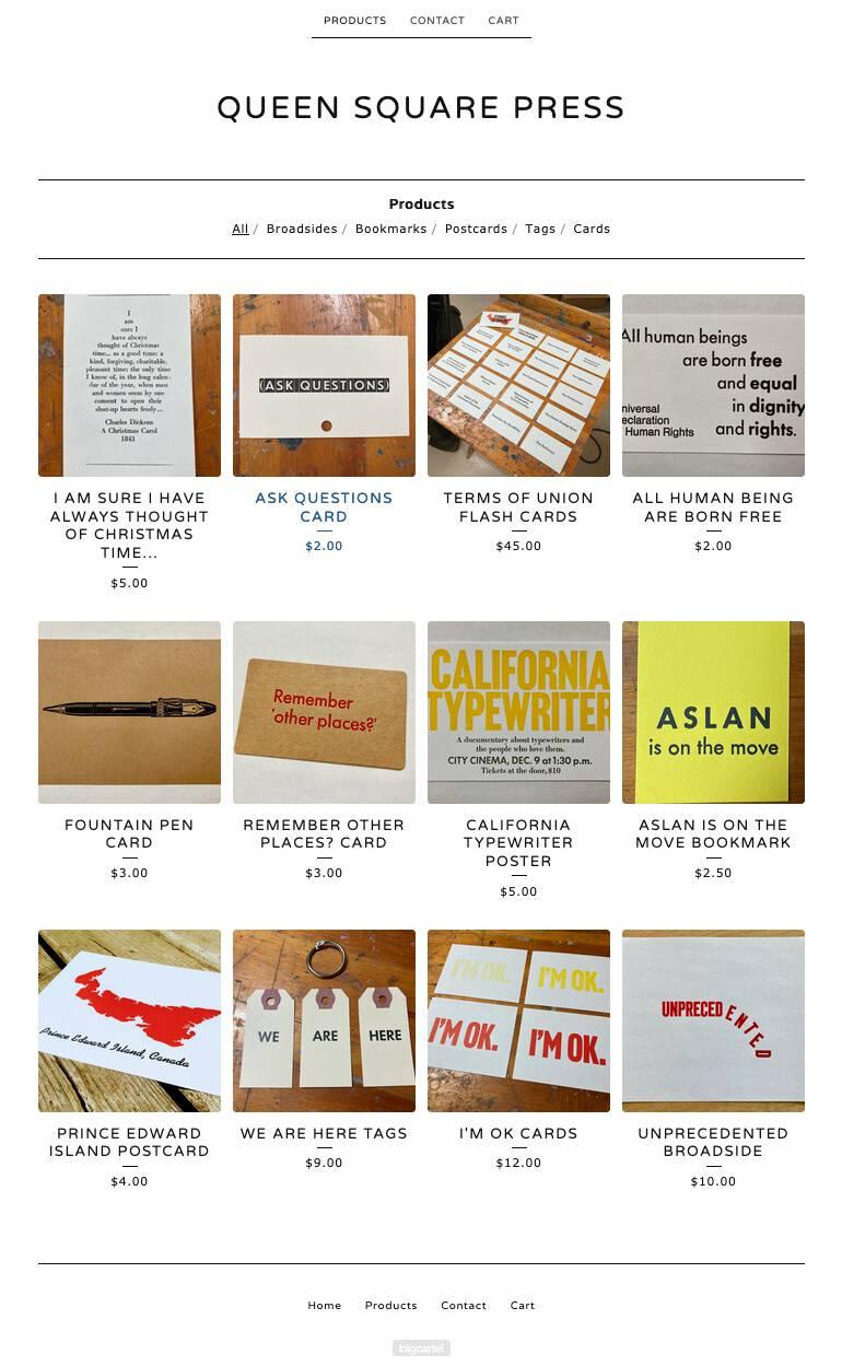 Screen shot of my Queen Square Press online shop.