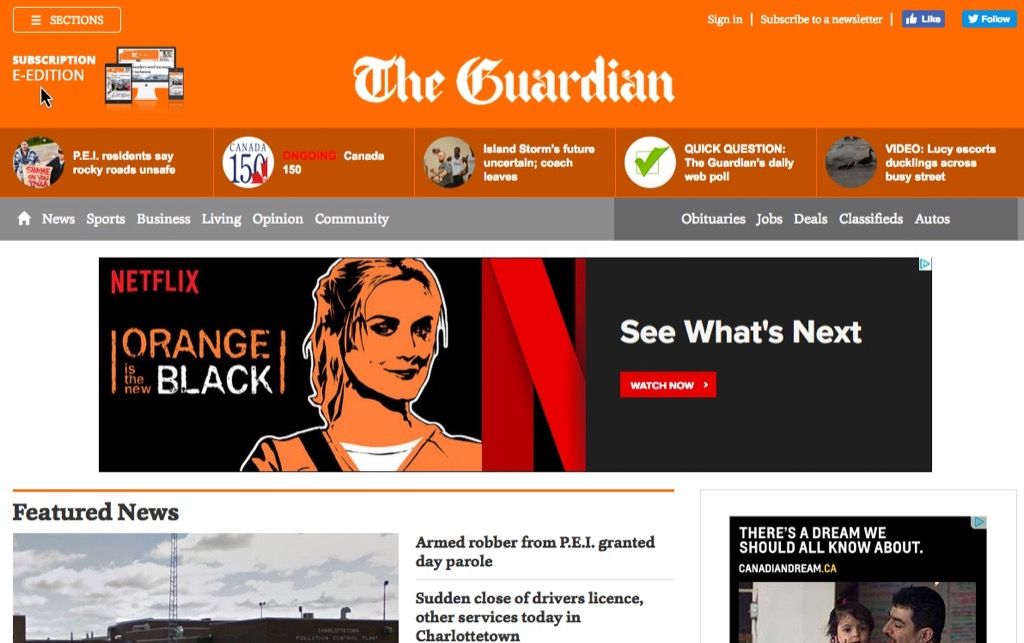 The Guardian, with Orange Is the New Black ad