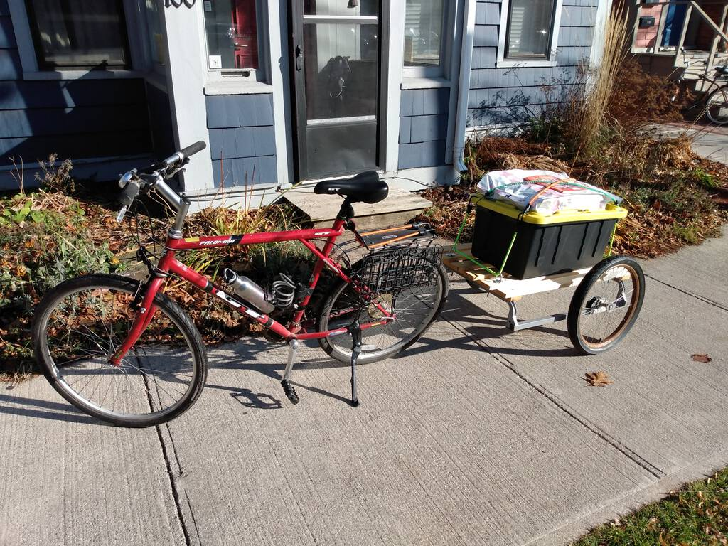 My bicycle and trailer, loaded up from a shopping trip this morning