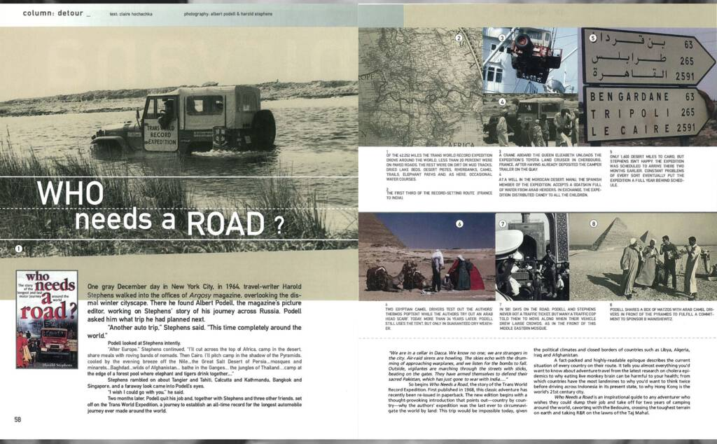 Article about Who Needs a Road? in Blue magazine, June 1999.