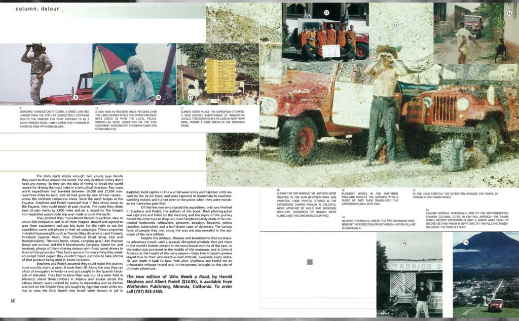 Second page of the Blue magazine article about Who Needs a Road?