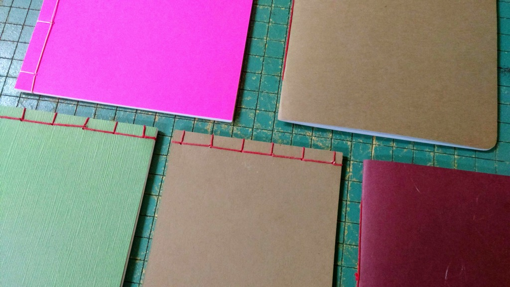 Photo of examples of late 2018 book binding experiments
