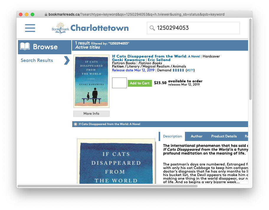 The Bookmark website showing the results of the bookmarklet