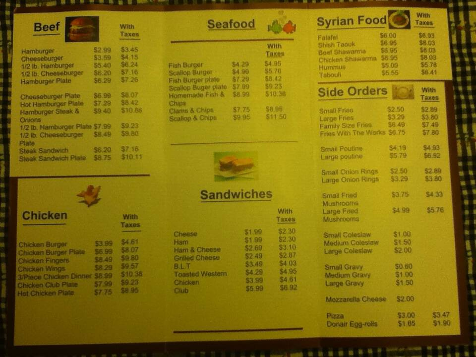 Black and White menu from March 2011, page 2