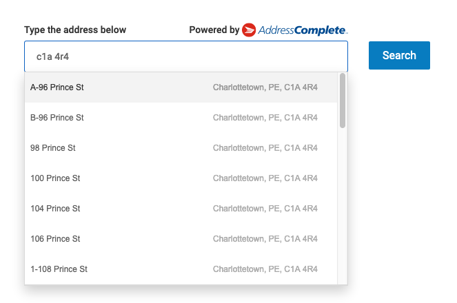 Canada Post postal code lookup tool searching for addresses in C1A 4R4