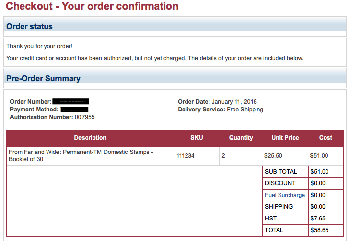 Screen shot of Canada Post order confirmation email