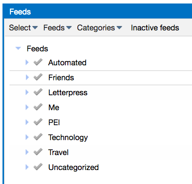 My Tiny Tiny RSS categories
