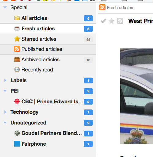 My Tiny Tiny RSS categories while reading