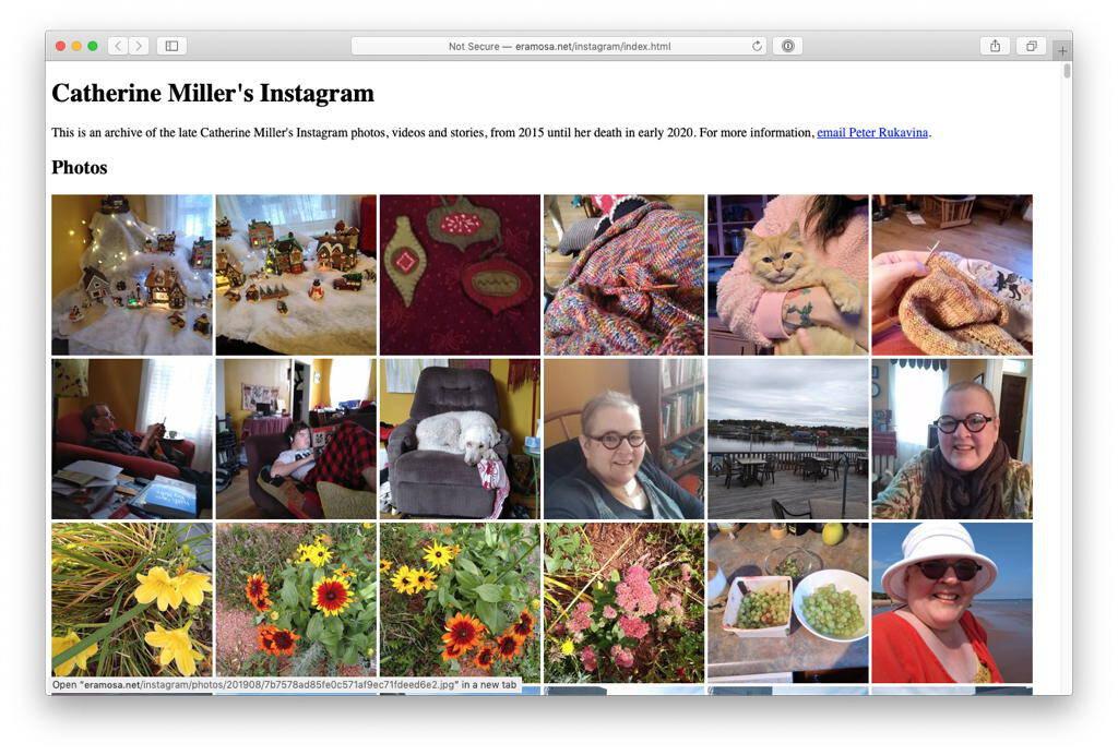 Screen shot of Catherine's static Instagram archive.