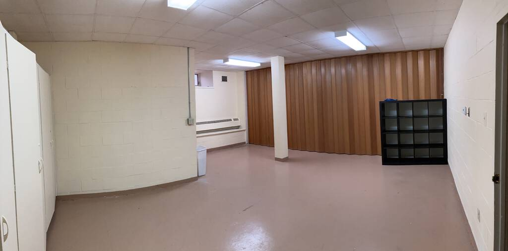 Photo of Catherine's empty studio in the basement of St. Paul's Church.