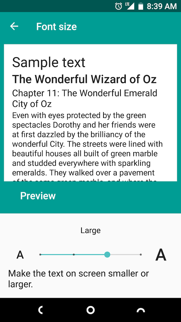 Screen shot of Font Size control in Android