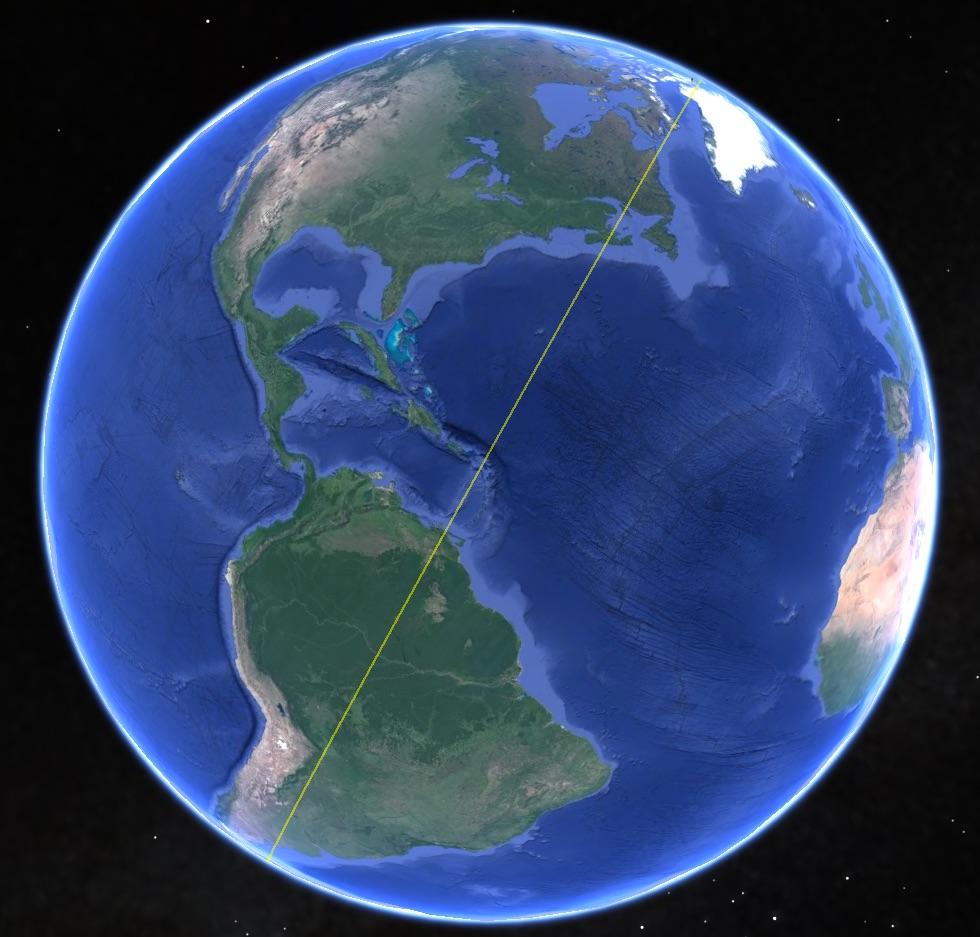 The Charlottetown Merdian overlaid on Google Earth