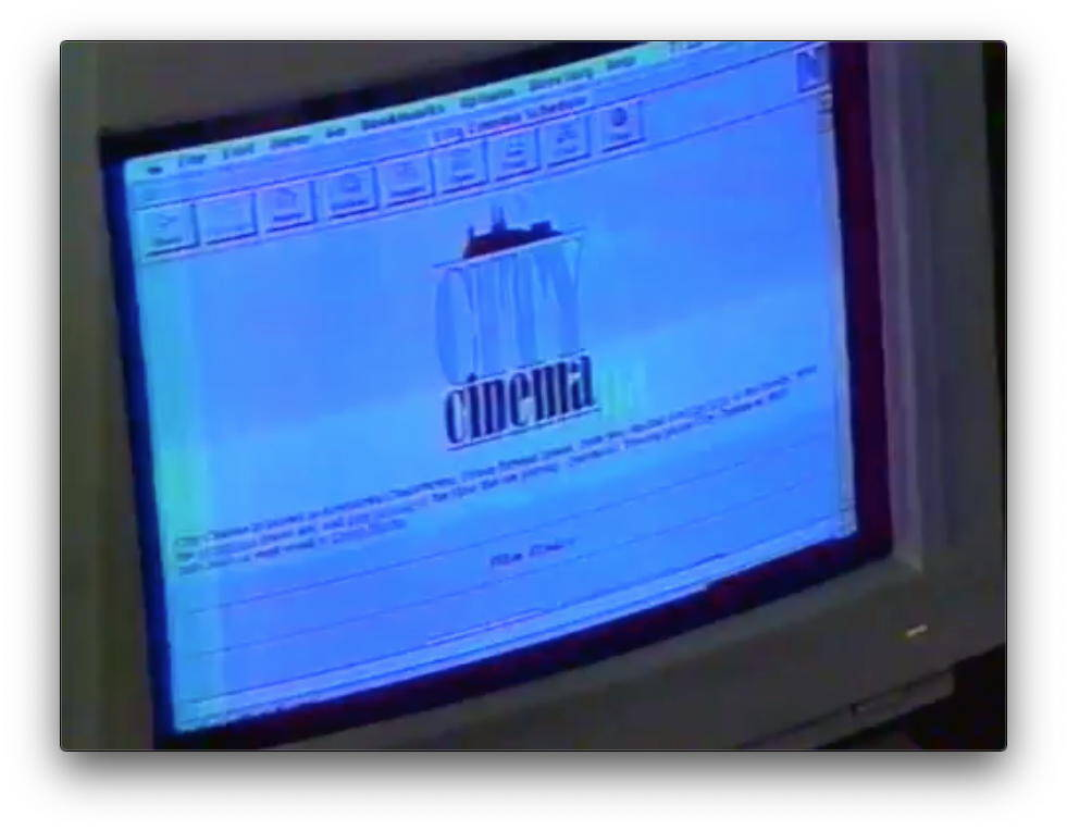 Screen shot of the City Cinema website from 1995.