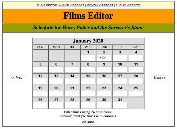 Screen shot of City Cinema film schedule editor.