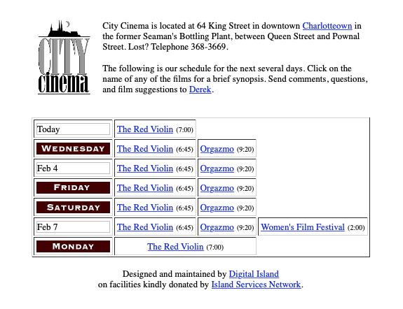 City Cinema website screen shot circa 1999.
