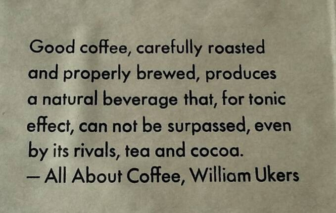 Text of the coffee bag