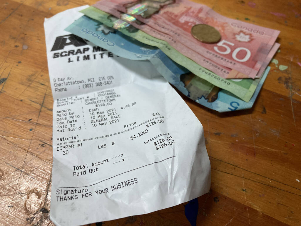 Receipt and cash for copper from A&S Scrap Metals