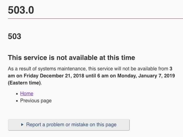 Screen shot of CRA website showing 503.0 error