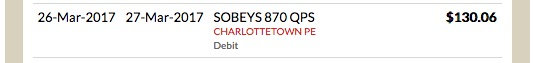 Snippet from my MasterCard transaction report showing $130.06 paid to Sobeys
