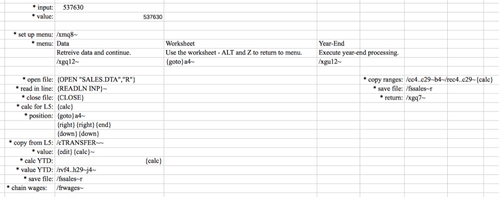 Screenshot of Canadian Tire Lotus 1-2-3 spreadsheet, circa 1984