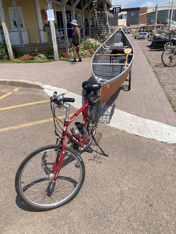 My canoe and my bike at the Charlottetown Yacht Club.
