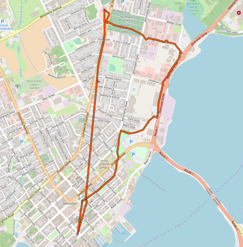 Map of my cycle route to Home Hardware and Parkdale Pharmacy
