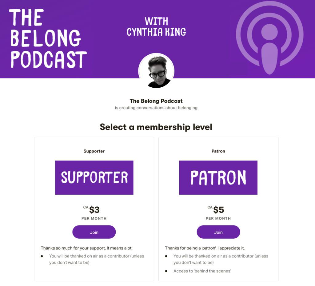 Screen shot of The Belong Podcast Patreon page.