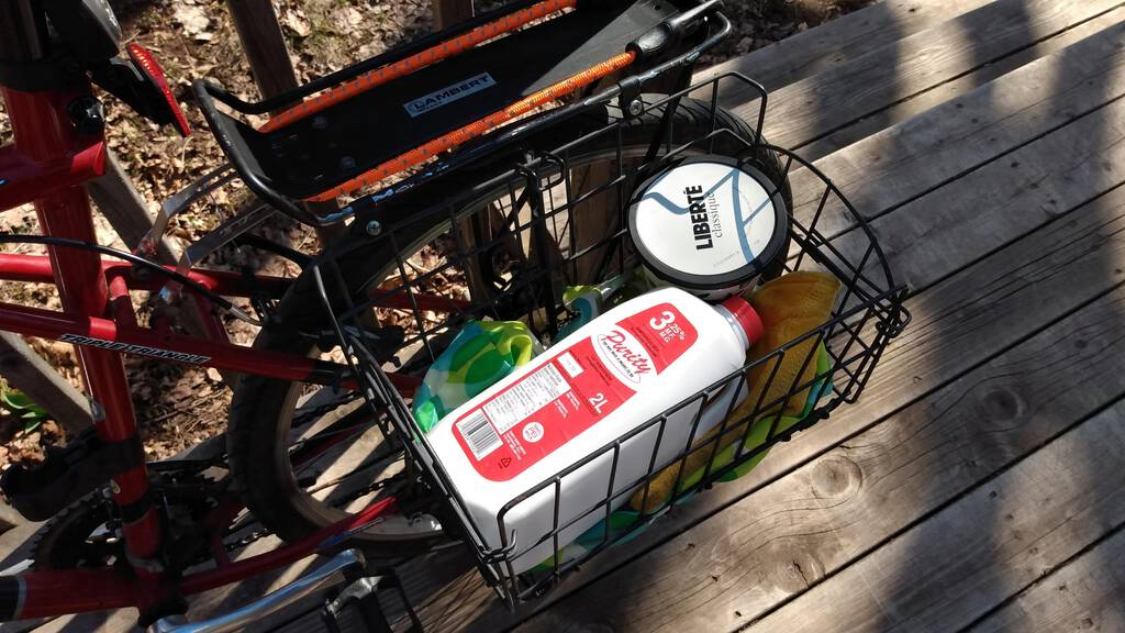 My bicycle rack with Purity Dairy milk and a tub of yogurt.