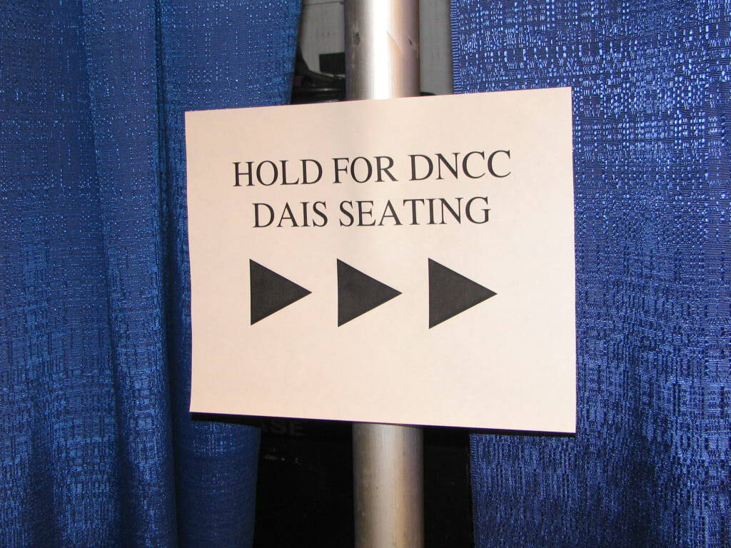 Hold for DNCC Dais Seating sign