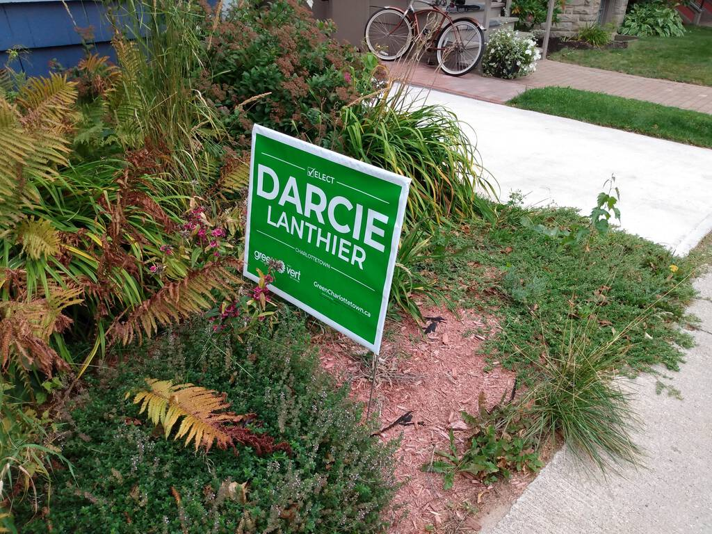 Darcier Lanthier campaign sign, on our front lawn.