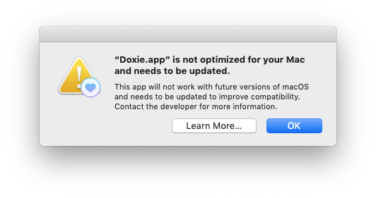 Warning about a 32 bit app running on a Mac and how it will not be supported soon