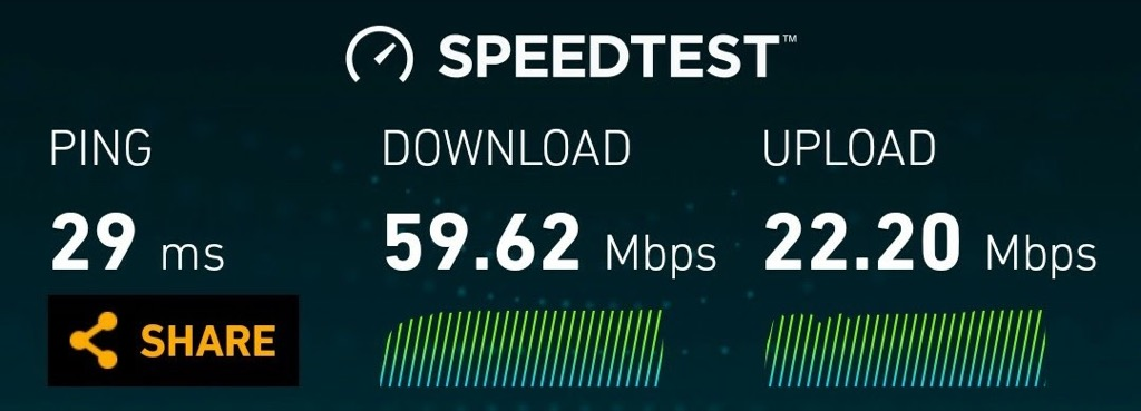 Results of an Eastlink wireless Speed Test showing 59.62 Mbps down and 22.2 Mbps up