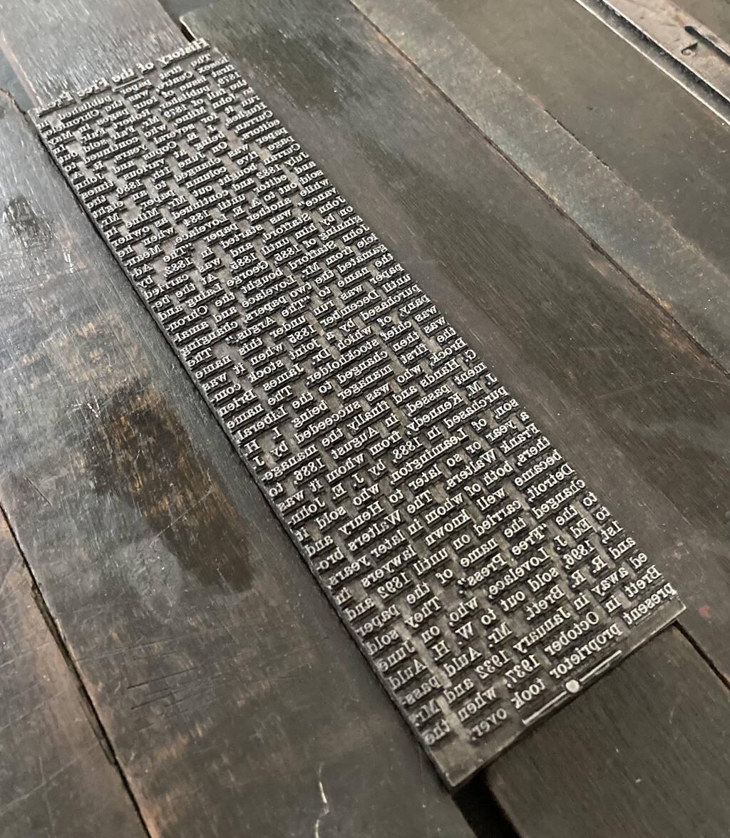Essex Free Press metal type