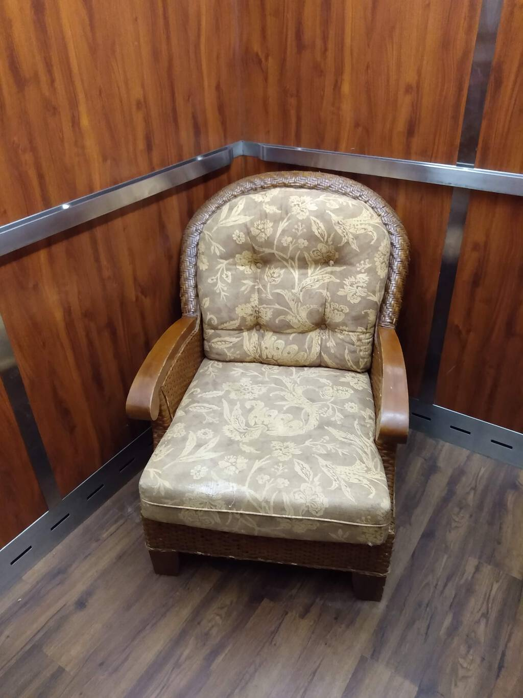 Armchair inside an elevator