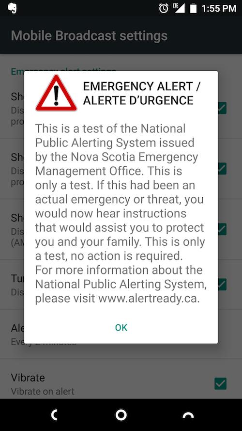 Screen shot of EMO text alert from Nova Scotia