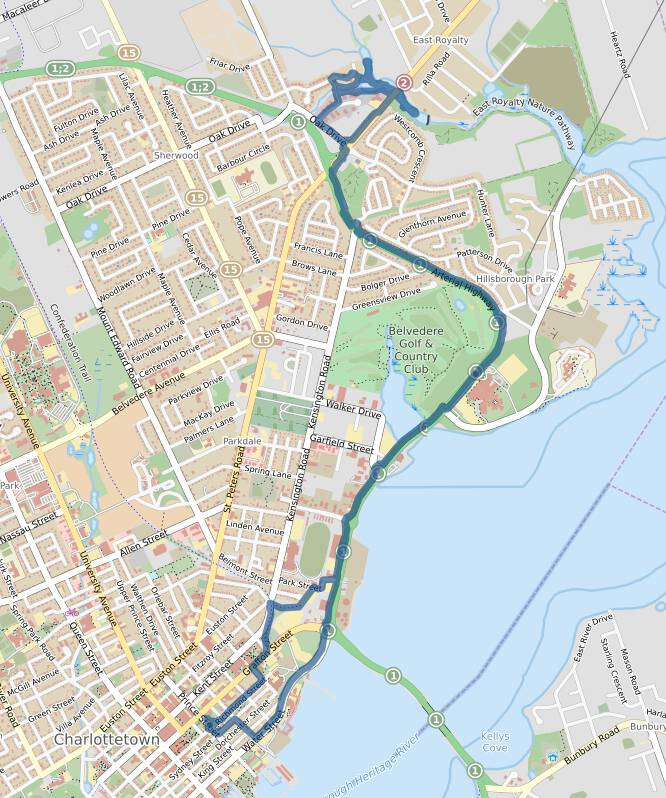 My cycle + canoe route on a map.