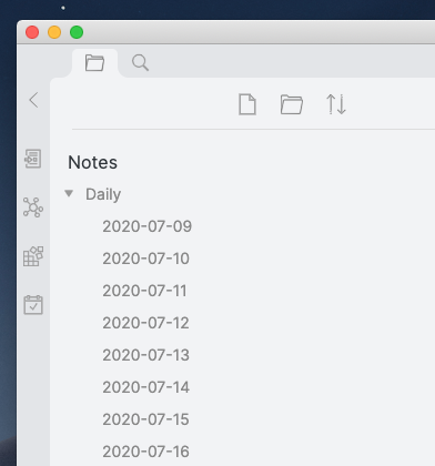 Screen shot of a part of Obsidian, showing my daily notes.