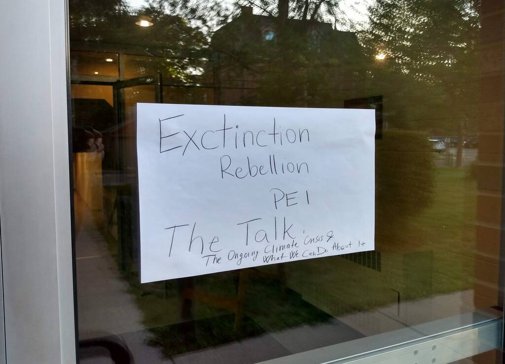 Extinction Rebellion sign at Trinity United Church