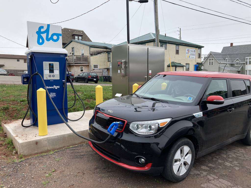 Charging our car in Souris