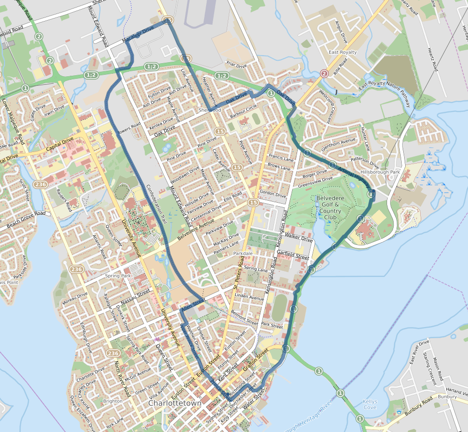 OpenStreetMap static map showing my cycle route from home to FedEx and back.
