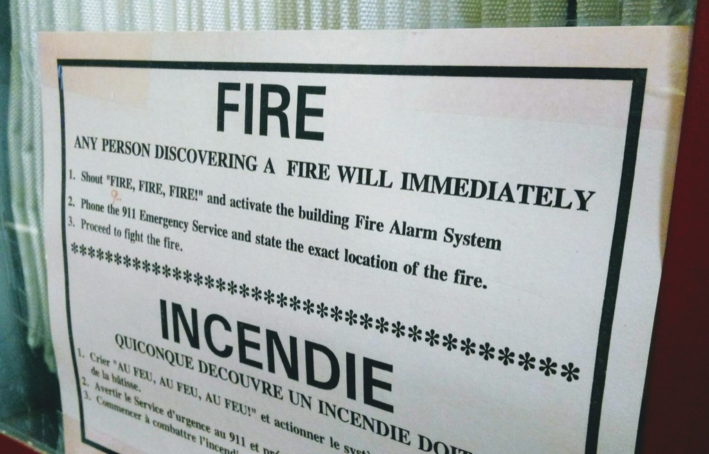 Fire sign from Queen Charlotte Armouries