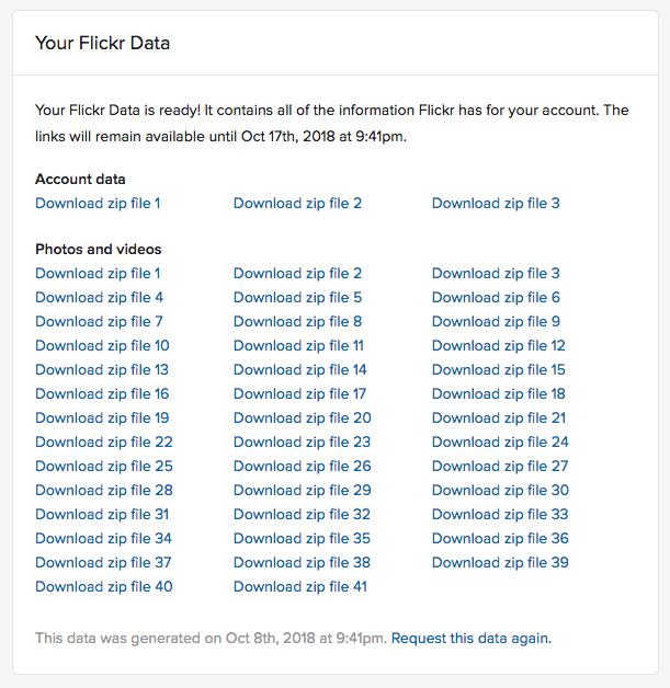 Your Flickr Data screen shot