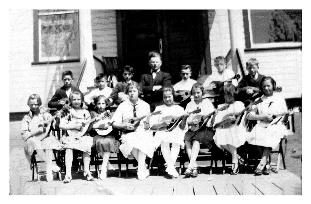 Mandolin orchestra, Stella and Nana at left of first row